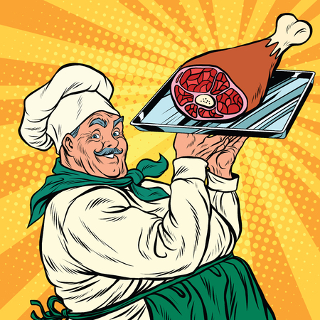 joyful retro cook with meat foot, pop art vector illustration