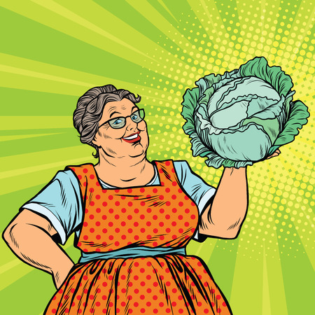 Smiling retro old woman with a head of green cabbage, pop art vector illustration. Vegetarian food and salad
