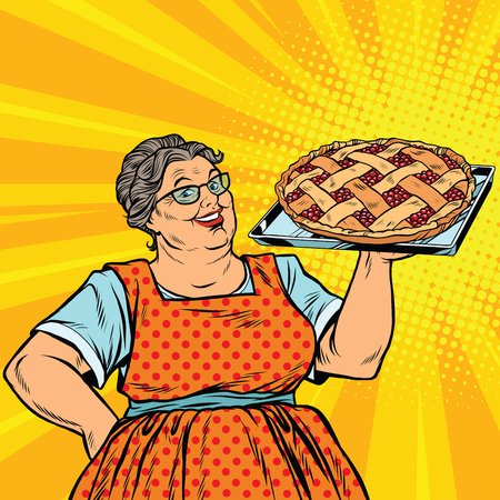 Old joyful retro woman with berry pie, pop art vector illustration. Family dinner and celebration
