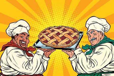 porcion de torta: cocineros multiétnicas con pastel de bayas, arte pop retro ilustración vectorial