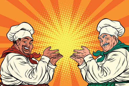 promoter: multi-ethnic chefs in the pose of a promoter, pop art retro vector illustration