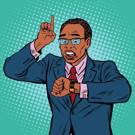 Afro-Amerikaanse zakenman op zoek naar polshorloge, pop art retro vector illustratie