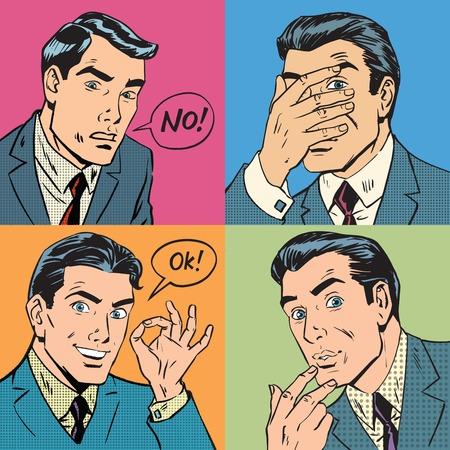 cowardice: Set of four retro emotional businessman, pop art vector illustration. Fear, attention, okay and no Illustration