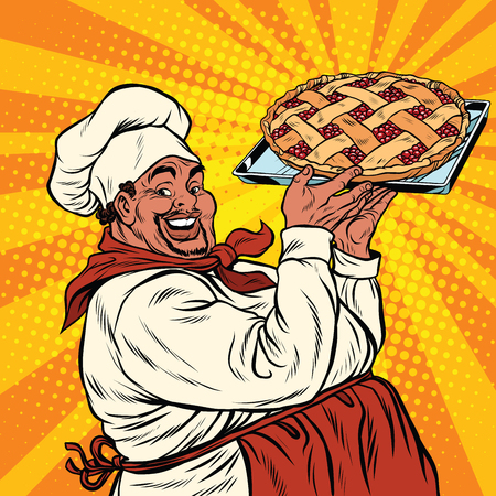 African American or Latino cook with a berry pie, pop art retro vector illustration Illustration