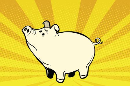 Funny cute pig, pop art retro vector illustration. Farm animals Illustration
