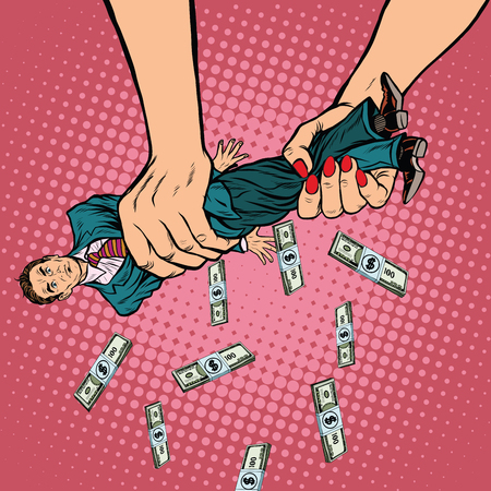 Female hands squeeze men money, pop art retro vector illustration. Financial exploitation of the business concept 일러스트