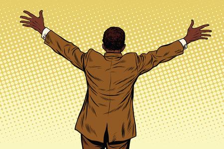 acquaintance: Back African American businessman open hands for hugs, pop art retro vector illustration