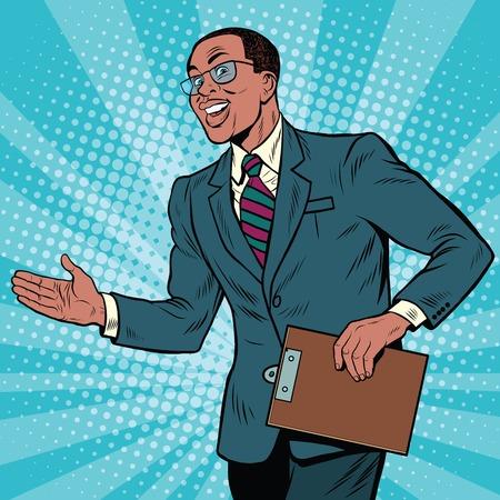 Homme d'affaires africain-américain sympathique, illustration rétro pop art.