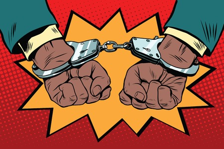 felony: handcuffs behind the back, hands African American, pop art retro illustration. Police violence and human rights