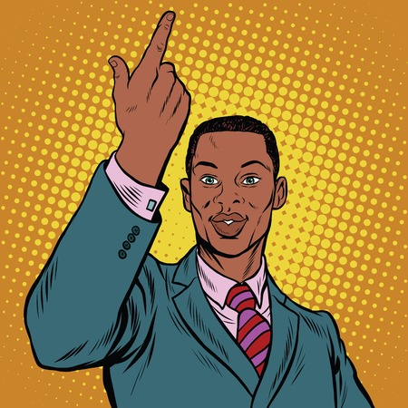 gesturing: African American businessman pointing finger up, pop art retro illustration