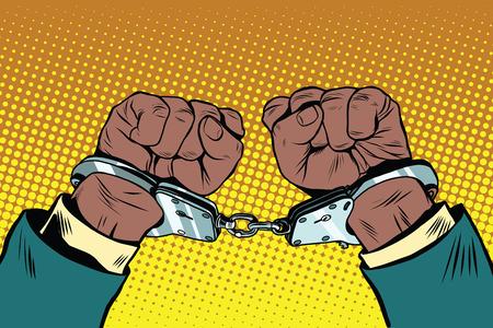 Manos arriba afroamericano con las manos esposadas, pop arte de la ilustración retro.
