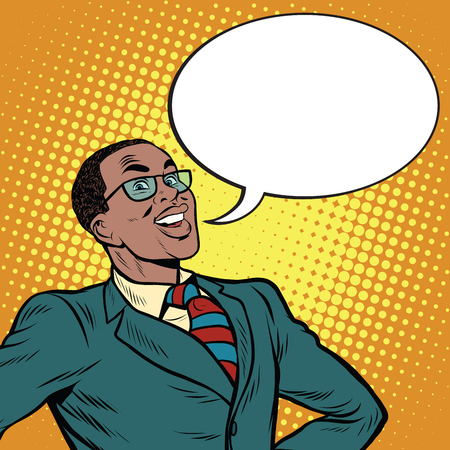 African American businessman says the comic bubble, pop art retro illustration Illustration