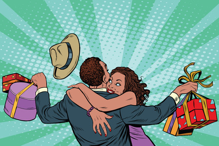 business relationship: African American couple happiness from gifts and shopping, pop art retro illustration. Valentines day and holiday sales. Man and woman in love