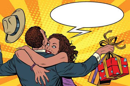 vrouw thanks man voor het geschenk. African American paar geluk, pop art retro illustratie. Valentijnsdag en vakantie verkoop. Man en vrouw in liefde