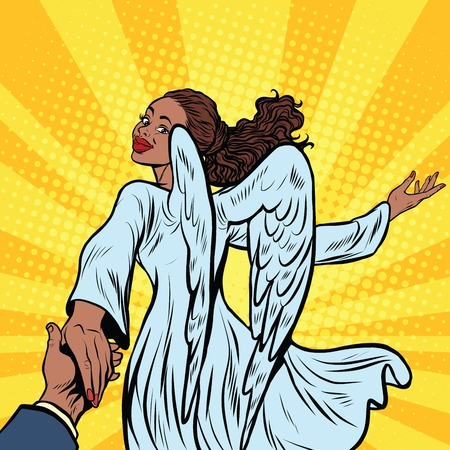 Follow me, beautiful angel girl, African American people, pop art retro illustration. Religion and carnival
