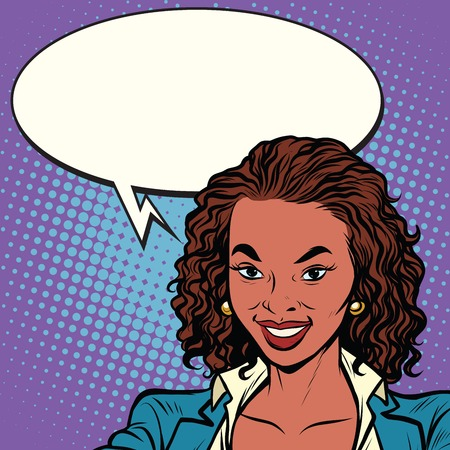woman boss: Beautiful African-American woman smiling, pop art retro comic book vector illustration Illustration