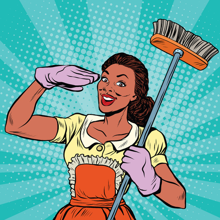 Cleaning staff. Cleaning supplies and household equipment tools, pop art retro comic book vector illustration. Service home cleaning Vettoriali
