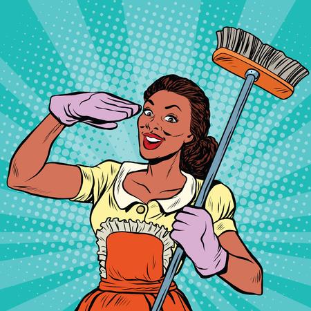 Personnel de nettoyage. Les produits de nettoyage et les outils de l'équipement ménager, pop art rétro bande dessinée illustration vectorielle. nettoyage à domicile Service Vecteurs