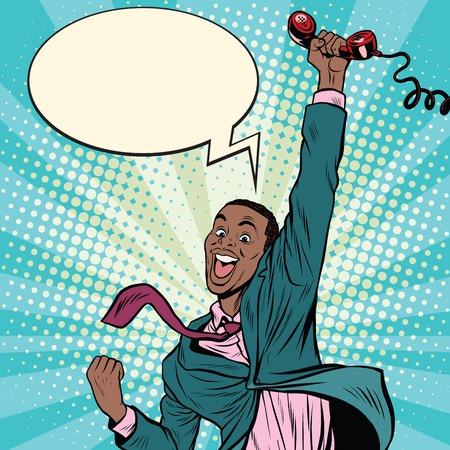Uomo afro-americano con le emozioni telefono felicità, pop art retrò fumetto illustrazione vettoriale Archivio Fotografico - 64821218
