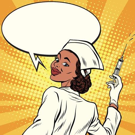 Afro-Amerikaanse verpleegster met een spuit voor inenting, pop art retro comic book vector illustratie