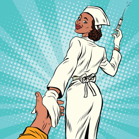Follow me nurse with medical syringe for injection, pop art retro comic book vector illustration