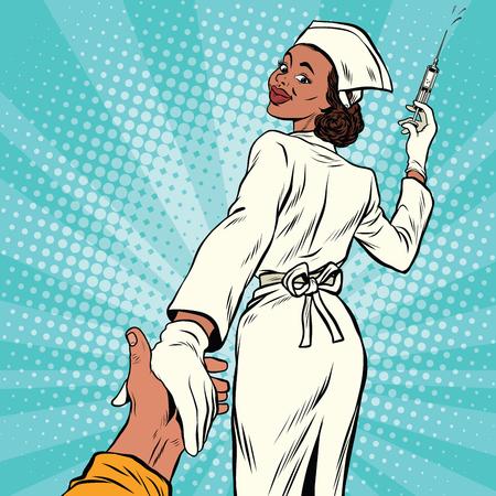 Volg me verpleegster met medische spuit voor injectie, vectorillustratie van het pop-art retro grappige boek Stock Illustratie
