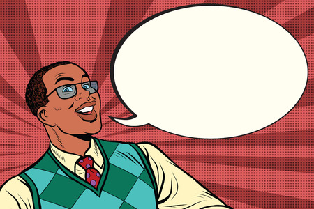 black man thinking: Intelligent African with glasses says comic bubble, pop art retro comic book vector illustration