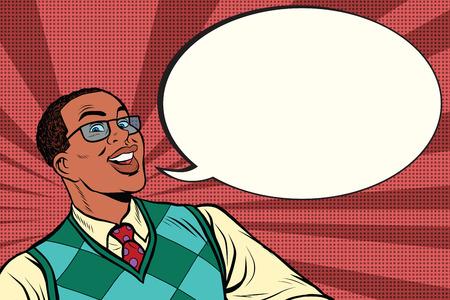 Intelligent africano con gli occhiali dice bolla fumetto, pop art retrò fumetto illustrazione vettoriale