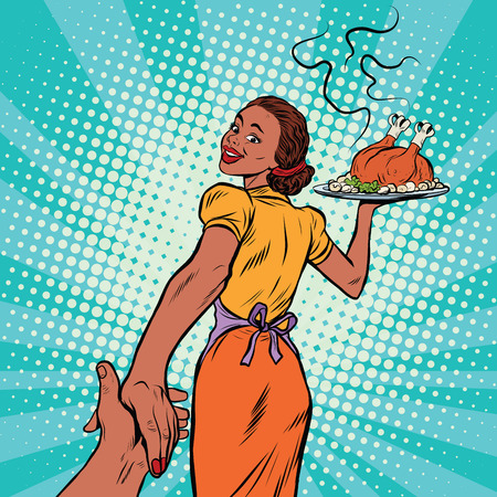 hot couple: follow me African-American housewife with roast Turkey, pop art retro comic book vector illustration. Christmas or thanksgiving holiday home dinner