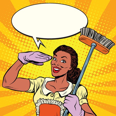 brush cleaner: Beautiful woman cleaner with brush for floors, pop art retro comic book vector illustration. Service home cleaning