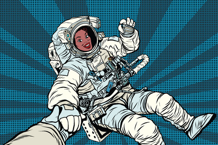 Woman astronaut African American gesture OK, pop art retro comic book vector illustration