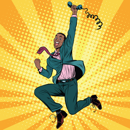 corded: Businessman with phone jump happiness emotions, pop art retro comic book vector illustration