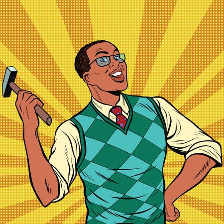 repairs: Retro man with a hammer for home repairs, pop art retro comic book vector illustration