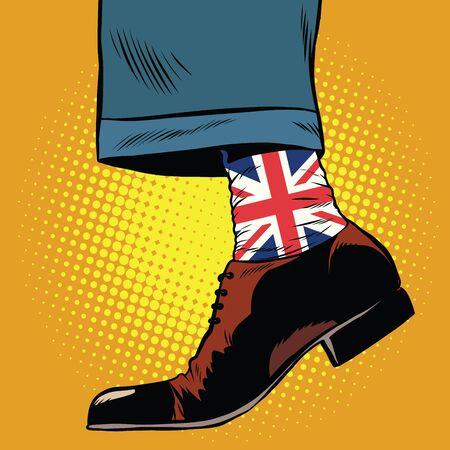 englishman: Stylish hipster socks with the British flag, pop art retro vector Illustration