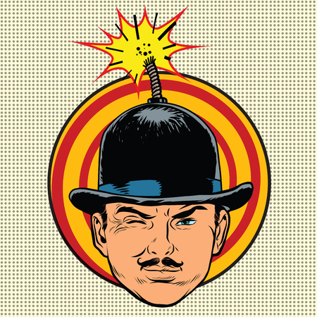 wick: Spy terrorist in the hat bomb wick, pop art retro vector Illustration