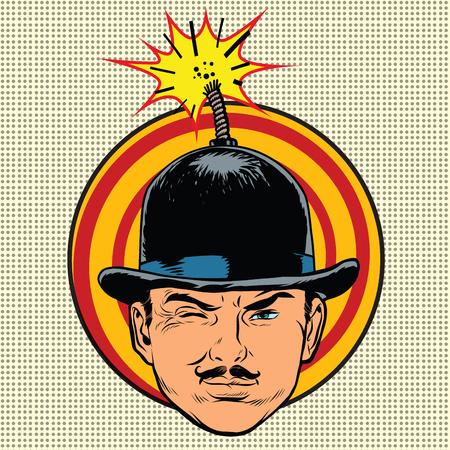 Spy terrorist in the hat bomb wick, pop art retro vector Illustration