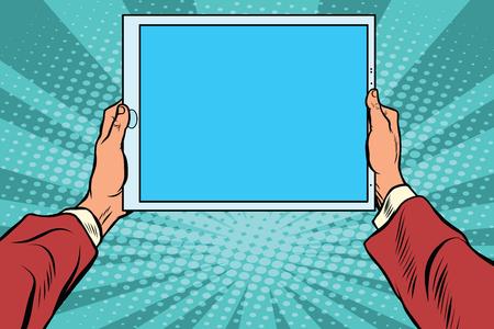 Pop-art elektronische tablet in de handen, retro vector. Moderne gadgets