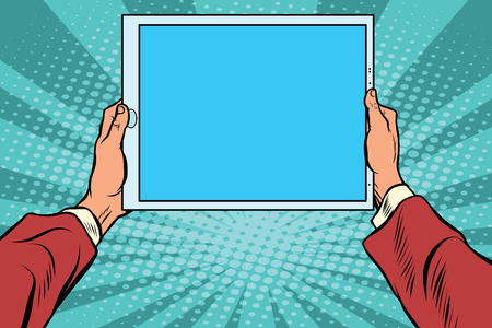 Pop art electronic tablet in the hands, retro vector. Modern gadgets Illustration