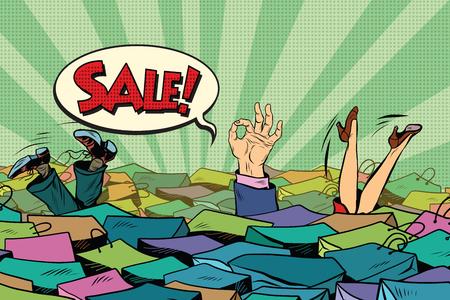 mucho dinero: La temporada de ventas navideñas. comercial Mar, el arte pop retro del vector