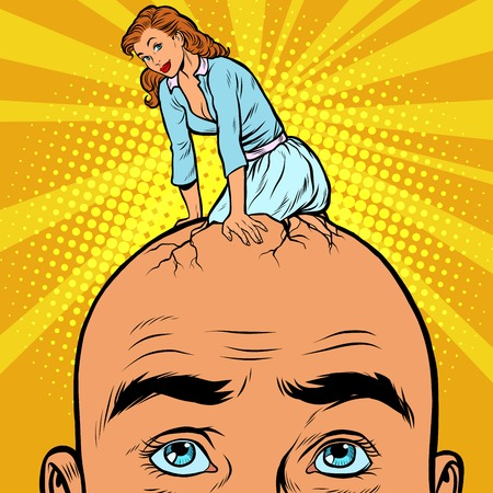 craze: The thoughts of men about a woman, pop art retro vector. Girl hatches from the head men
