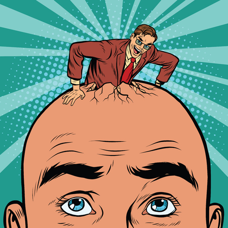 mania: Retro businessman hatches from the head men, pop art vector Illustration