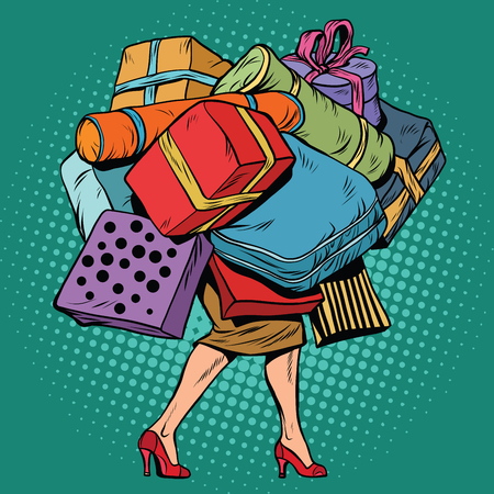 Woman and a lot of holiday shopping, sales and discounts, pop art retro vector