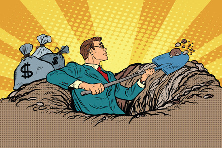 digging: Businessman digging, money and treasure, pop art retro vector