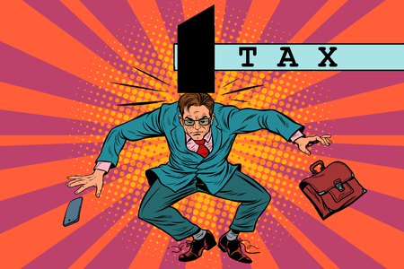 deductions: tax policy, impact on business, pop art retro vector. The businessman was hit with a hammer Illustration