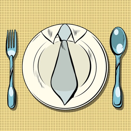 lunch: Business lunch, dish, fork and spoon, pop art retro vector. Restaurants and food