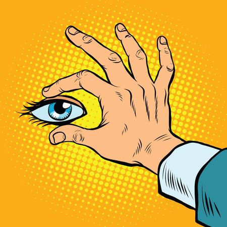Retro hand holding eyes, pop art retro vector. View and surveillance