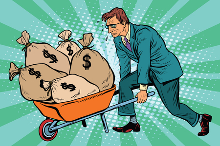 Businessman wheel heavy garden cart with money, pop art retro vector. Business and Finance