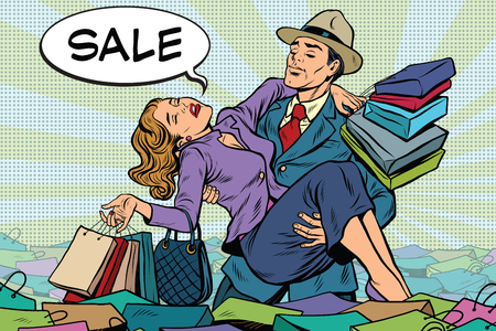 Retro man rescues a woman from sales and purchases, pop art vector. Holiday sales and Black Friday Vettoriali