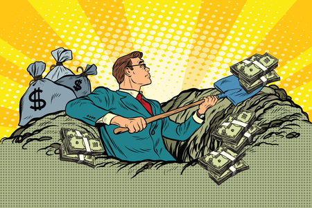 millionaire: Retro businessman digs up money from the ground, pop art vector. Business and Finance Illustration