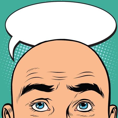 Pensamientos hombres cabeza calva, el arte pop retro del vector